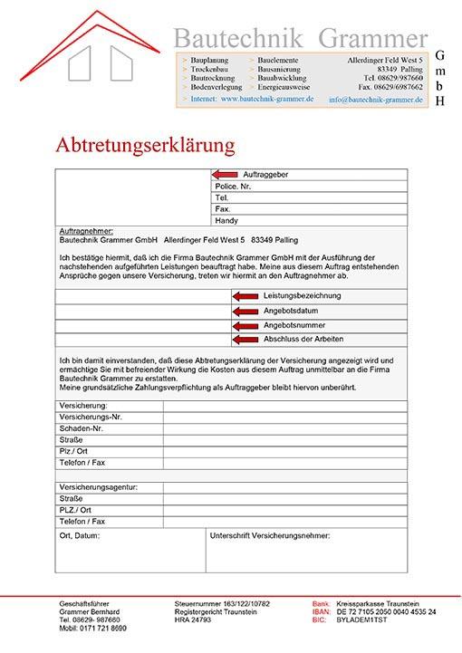 Abtretungserklärung Bautechnik Grammer GmbH