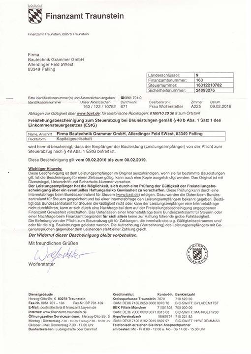 Freistellungsbescheinigung Bauechnik Grammer GmbH