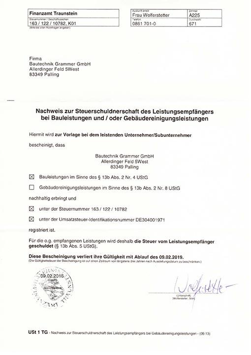 Bautechnik Grammer GmbH Nachweis zur Steuerschuldnerschaft